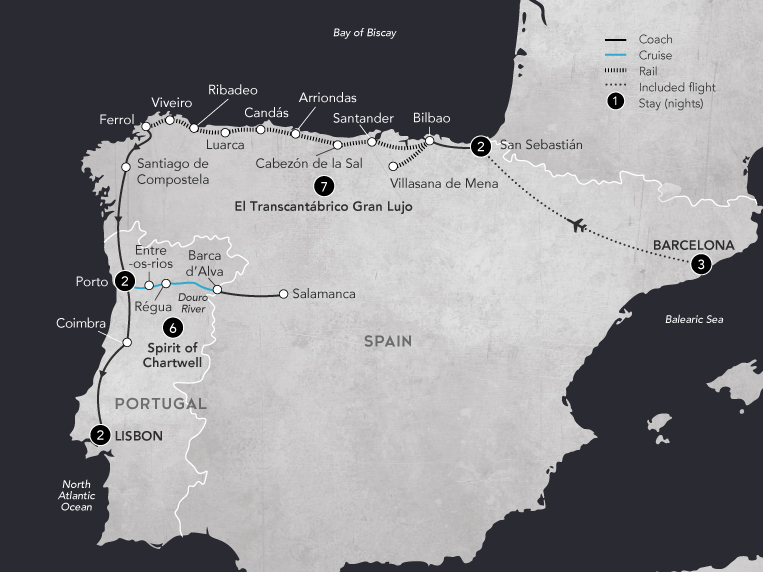 Northern Spain & the Douro Valley 2019 Map